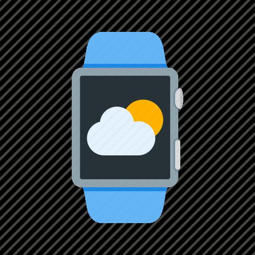 app, clock, clouds, smart, watch, weather, wrist icon