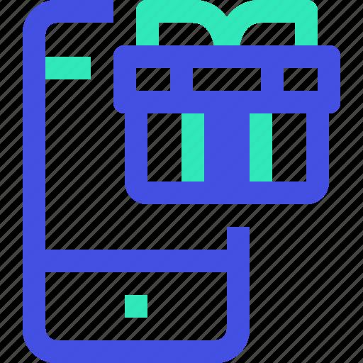gift, smartphone icon