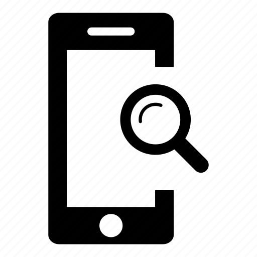 magnifying glass, mobile phone, phone, search, smart phone, smartphone, zoom icon