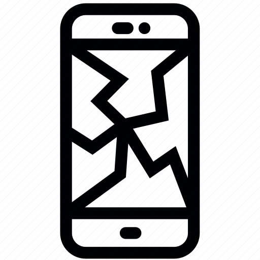 broken, mobile, screen, smartphone icon