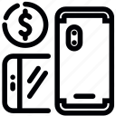 dollar, mobile, price, purchase, smartphone icon