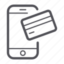 credit card, payment, smartphone icon