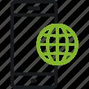 communication, globe, mark, phone, smart, smartphone icon