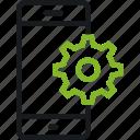 communication, gear, mark, phone, service, setting, smart icon