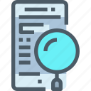 mobile, read, research, search, smartphone, technology icon
