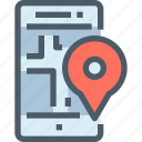 map, smartphone, mobile, location, technology, gps icon