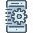 gear, management, mobile, process, smartphone, technology icon