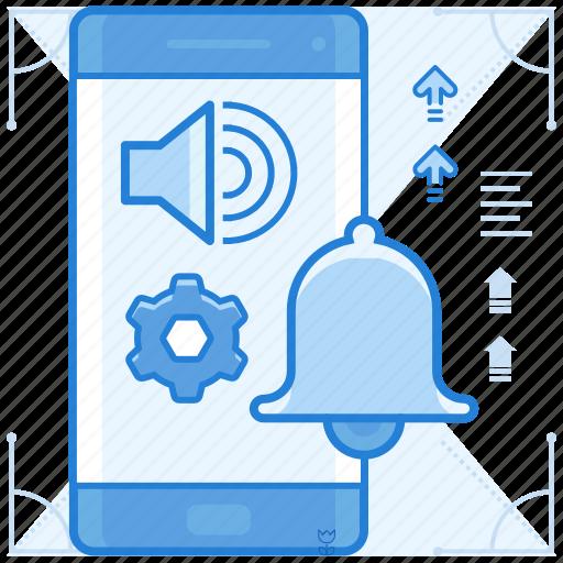 alert, bell, notifications, smartphone icon