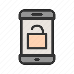 key, lock, open, safety, security, smartphone, unlocked icon