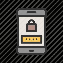 lock, mobile, passcode, phone, screen, security, smartphone icon