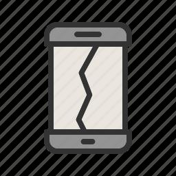 broken, crack, damage, drop, phone, screen, smartphone icon