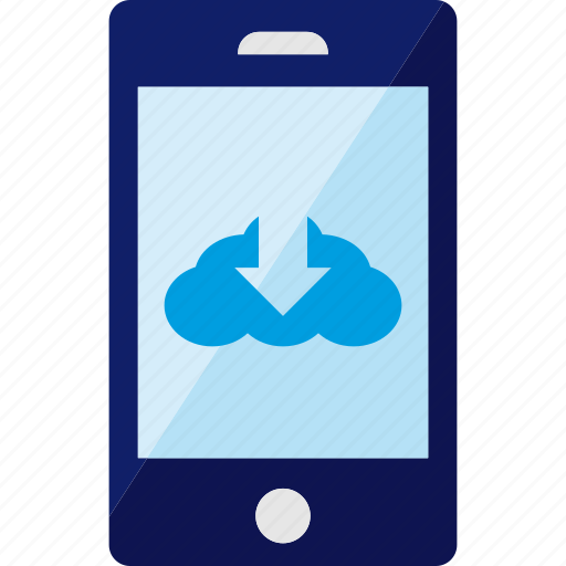 cloud, download, mobile, service, smartphone icon