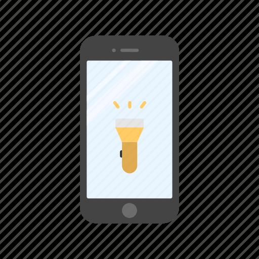 flashlight, light, mobile flashlight, phone icon