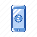 currency, mobile payment, mobile pound, phone icon