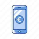 currency, european phone, mobile euro, mobile payment icon