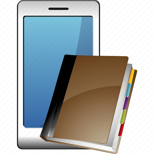 address, book, notes, smartphone icon
