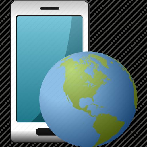 globe, smartphone, world icon