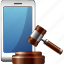 auction, hammer, market, sell, smartphone icon