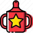 baby, cartoony, child, cup, feeding, kid icon