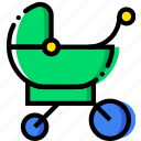 baby, cartoony, child, kid, sleeping, stroller icon