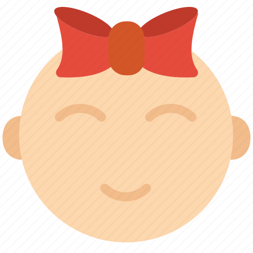 baby, face, girl, kid, ribbon, toddler icon