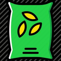 agriculture, farming, garden, nature, sack, seeds icon