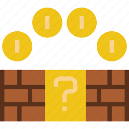 bricks, coin, game, gaming, mario, play icon