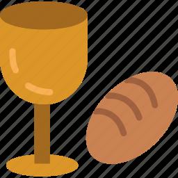 bread, celebration, easter, festivity, holiday, religion, wine icon
