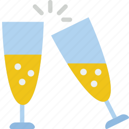 celebration, champagne, festivity, glasses, holiday icon