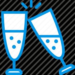 celebration, champagne, festivity, glasses, holiday icon