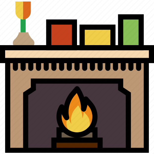 belongings, fireplace, furniture, households icon