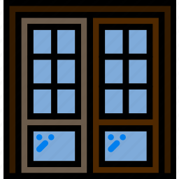 belongings, doors, double, furniture, households, sided icon