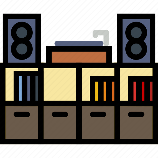belongings, enterntainment, furniture, households, library icon
