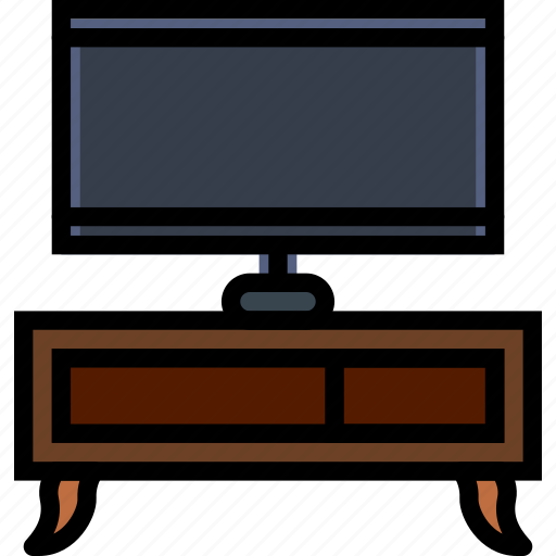 belongings, furniture, households, stand, tv icon