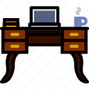belongings, desk, furniture, households, laptop icon