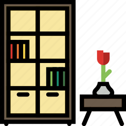 belongings, bookcase, furniture, households icon