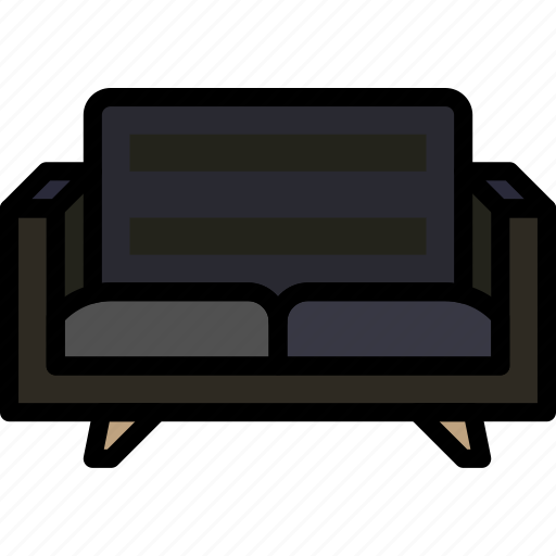 belongings, couch, furniture, households, seated icon