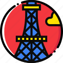 cartoony, eiffel, tower icon