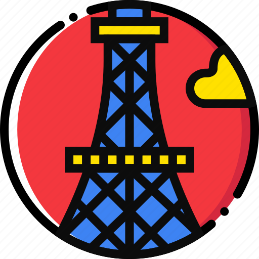 cartoony, eiffel, tower icon