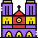 cartoony, cathedral, dame, notre icon