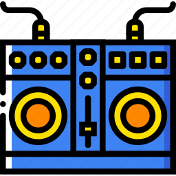 mixing, music, plates, play, sound icon