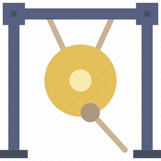 gong, instrument, music, sound icon