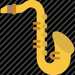 instrument, jazz, music, orchestra, saxophone, sound icon