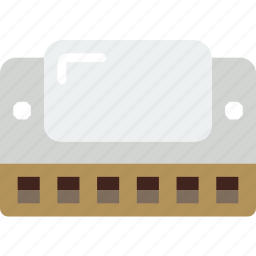 harmonica, instrument, music, sound icon