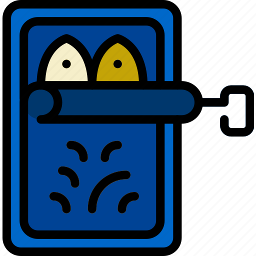 camping, outdoor, sardines, travel icon