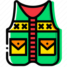 fishing, forest, outdoor, vest, wild icon