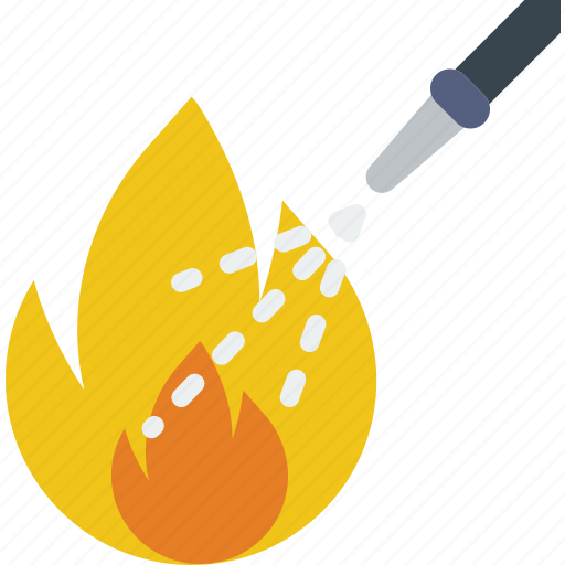 extinguishing, fire, firefighter, fireman, hose, water icon