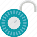 combination, lock, open, protection, security icon