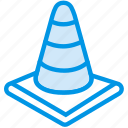 cone, danger, hazard, road, traffic, warning icon