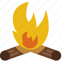 outdoor, camping, fire, survival, wood, campfire icon